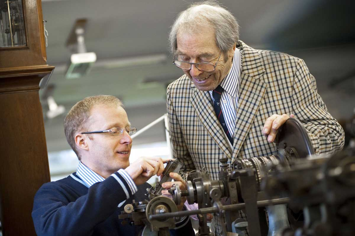 Roger Smith with George Daniels in his workshop on the Isle of Man
