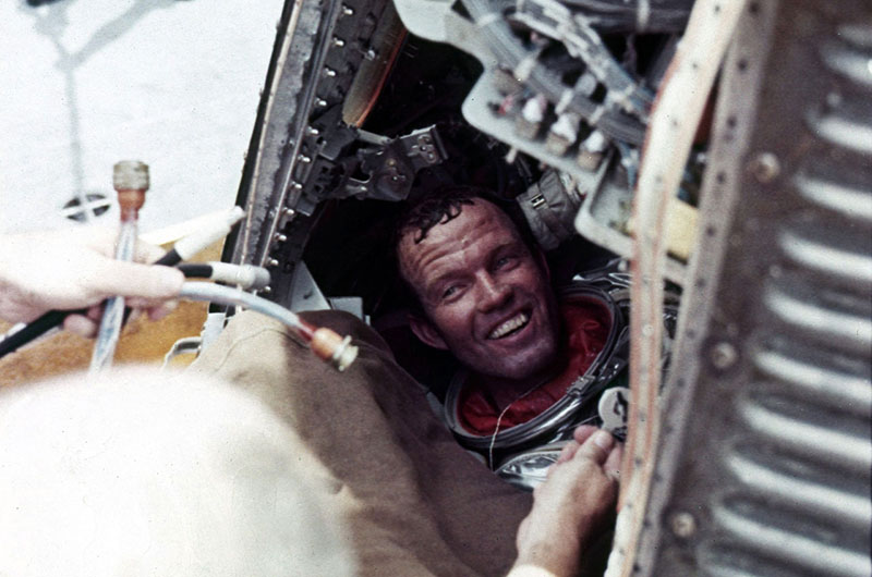 A hot, but happy, Gordo shortly after his capsule had been recovered